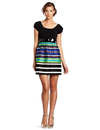 A. Byer Juniors Printed Sateen Border Skirt Dress with Accessorizing Belt, Blue/Black, Small