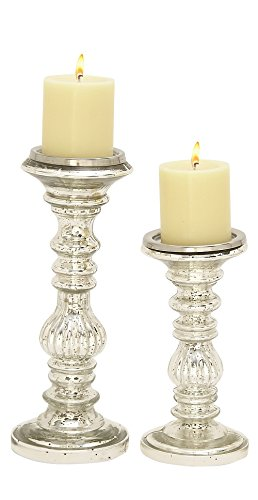 """Glass Metal Candle Holder S/2 9"""", 12""""H - 24641"""