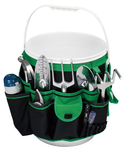 Apollo Precision Tools DT0825 5-Gallon Bucket Garden Tool Organizer, Black/Green