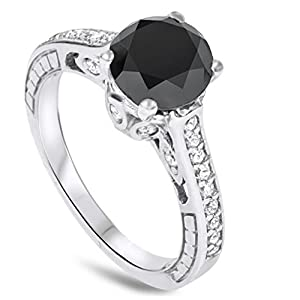 2.69CT Vintage Black Diamond Engagement Ring 14K White Gold
