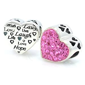 "Pro Jewelry .925 Sterling Silver ""Pink Crystal Heart Ft. Laugh, Love, Wish, Etc."" October Birthstone Charm Bead Compatible for Snake Chain Charm Bracelet 4709"