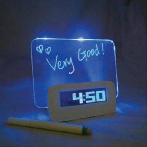 Fluorescent Message Board Blue Led Digital Alarm Clock Calendar