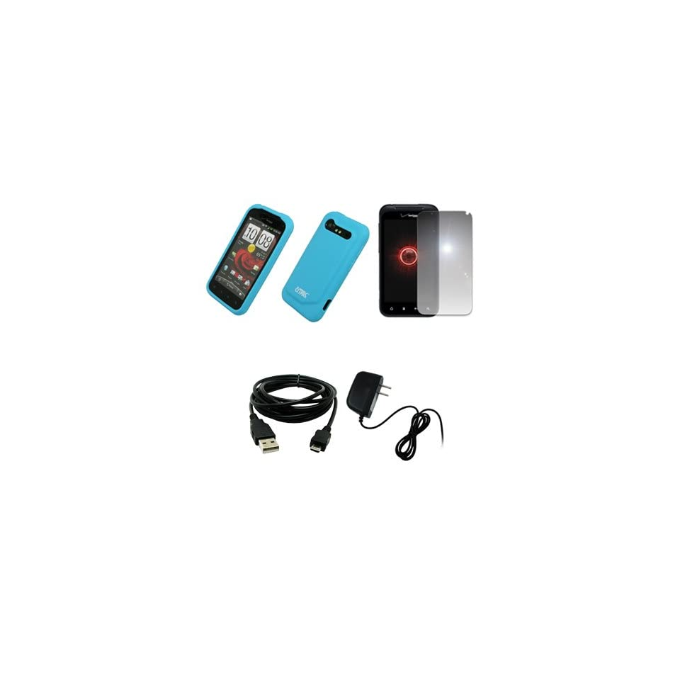 EMPIRE Light Blue Silicone Skin Case Cover + Mirror Screen Protector + Home Wall Charger + USB Data Cable for Verizon HTC Droid Incredible 2 6350