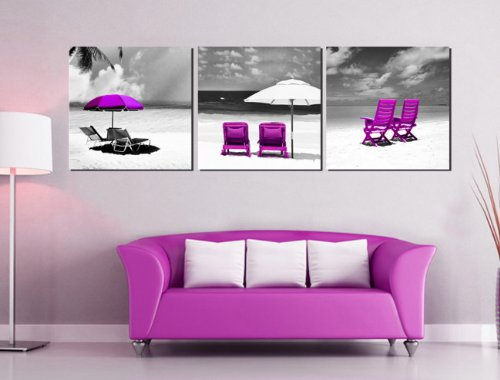 Xm Art-Canvas Print,Purple Rocking Chair Gray Beach Unstretched And Unframed, 3Panels Canvas Art The Extensive Modern Canvas Wall Art For Home Decoration front-288081