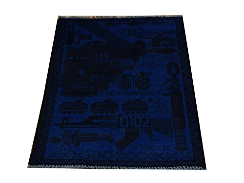 Hand Knotted Overdyed Afghan War 2X2 Map And Gun Oriental Rug 100% Wool Sh18426