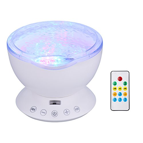 [Upgraded Version] VicTsing Romantic 7 Modes Color Changing Night Light Ocean Wave Projector Light with Remote Control, Built-in Hypnosis Music and Mini Speaker for Bedroom Bathroom Children Room