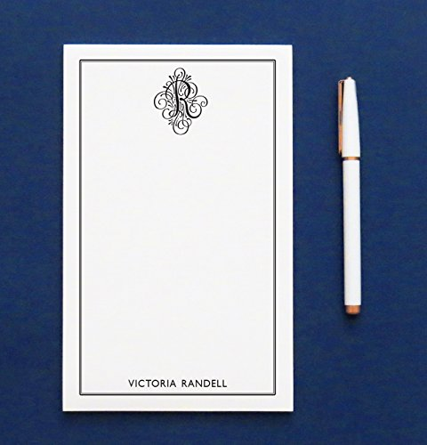 Monogrammed notepad for Men, Monogrammed notepad for Women, Personalized Notepad Set, Monogrammed Letter writing paper, size 5.5in x 8.5in, 50 sheets (Personalized Writing Paper compare prices)