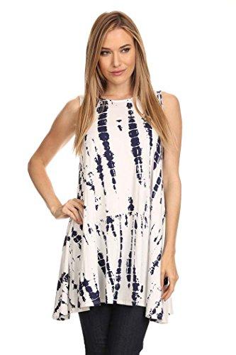 Women's Tie-Dye Print Sleeveless Tunic Top. MADE IN USA (M, WHITE)