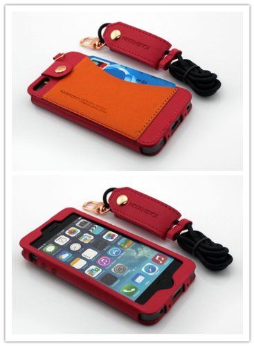 Nine States Durable Pu Leather Back Cover Universal Protection Lanyard Case For Iphone 5 5S 5C With Earphone Smart Cord Wrap Credit Card Holder Color Varies Red