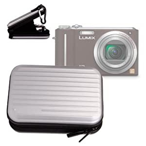 Sportliches Hartschalen-Etui mit Karabiner für Panasonic DMC-TZ31EG-K Digitalkamera