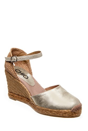 CHIO Ad774 High Heel Espadrille Wedge Sandal - Platinum