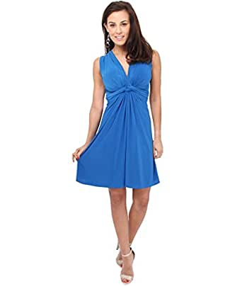 Ruched Drape Twist Knot Front Mini Dress Tie Belted Party Summer Casual Beach