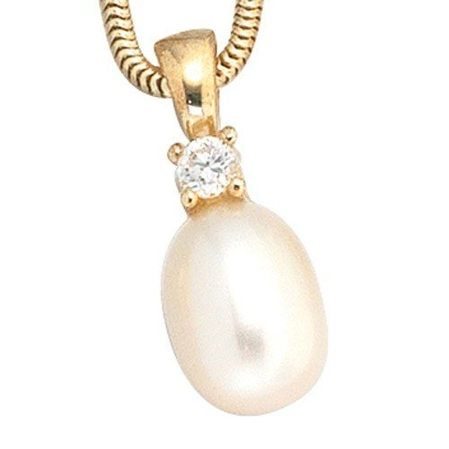 Pendant freshwater cultured pearl and cubic zirconia necklace & 333 Yellow Gold Women's