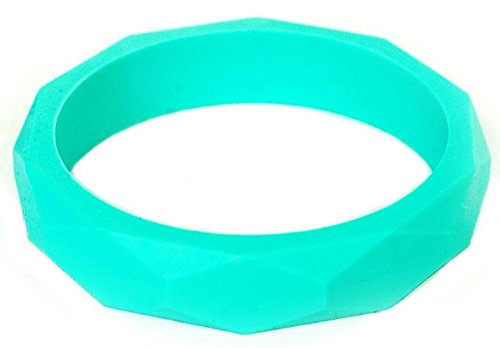 Itzy Ritzy Teething Happens Silicone Jewelry Baby Teething Bangle Bracelet Geometric, Turquoise
