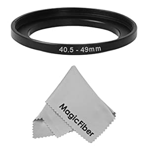 Goja 40.5-49MM Step-Up Adapter Ring (40.5MM Lens to 49MM Accessory) + Premium MagicFiber Microfiber Cleaning Cloth