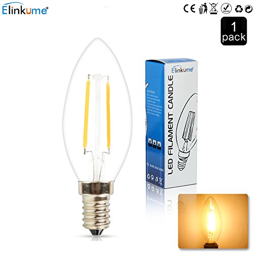 ELINKUME 2W Candelabra LED Bulbs, 20W Light Bulbs Equivalent, LED Warm White 2700K Chandelier LED Bulb, E12 Candelabra Base (20watt Led Lightbulb compare prices)