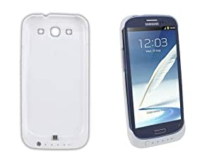 New Samsung Galaxy S3 i9300 'PowerBank' External High Capacity (2200 mAh) Spare Battery Power Pack Emergency Charging Charger Case / Cover (With Media Kick Stand & Pack of 5 Screen Protectors) in WHITE - Part Of The InventCase® Accessory Range""
