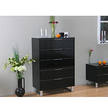 kommode toronto schubladenkommode sideboard highboard schrank schwarz hochglanz db704. Black Bedroom Furniture Sets. Home Design Ideas