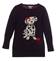 Hartstrings Little Girls Pullover With Dalmatian Puppy Applique Peacoat Navy 2T