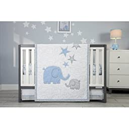 Zutano Elefant Blau Crib Set, White/Blue/Grey, 4 Count