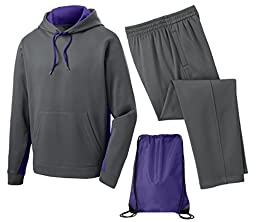 Sport Tek Men\'s Sport Wick Fleece Tracksuit, XL, Purple/Smoke Grey