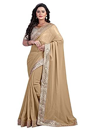 Chirag Saree Chikoo Designer Saree Mirror Work Heavy Blouse Clothing Accessories