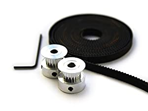 2 X Aluminum Gt2 20t Pulley and 2 Meters Belt for Reprap 3d Printer Prusa i3 from 3D CAM