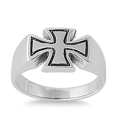 Sterling Silver Woman'S Men'S Iron Cross Polished Ring Comfort Fit 925 Band 9Mm Size 8 front-454093