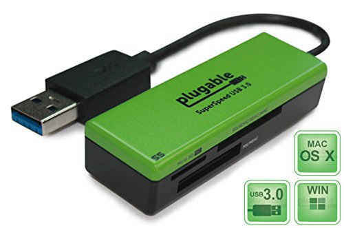 Plugable SuperSpeed USB 3.0 Flash Memory Card Reader for Windows, Mac, Linux, and Certain Android Systems - Supports SD, SDHC, SDXC, Micro SD / T-Fl