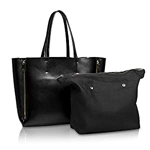 Kattee Women's Genuine Leather Classic Pure Color Large Tote Shoulder Bag