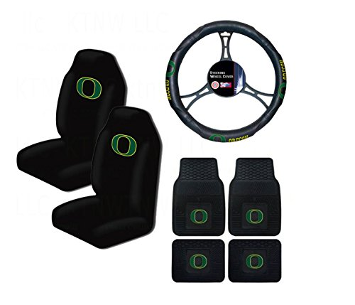 A set of 7 Piece Automotive Gift Set: 2 Front and 2 Rear All Weather Floormats, 2 Highback Seat Covers, and 1 Wheel Cover - Oregon State Ducks (Oregon Ducks Car Seat Covers compare prices)