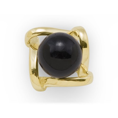 Black Coral Tie Tack in 14K Yellow Gold