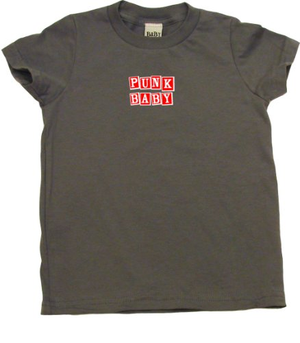 Punk Baby In Red & White On Short Sleeve Toddler Fine Jersey T-Shirt, 2T, Slate