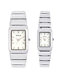 GT Gala Time Stylish White Rectangle Dial Stainless Steel Couple Watch B-PAIR-010