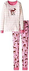 Hatley Little Girls' Pajama Set Applique Soft Deers