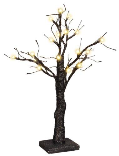 PBK 20-LED Lights Black Glitter Tabletop Tree - Wedding or Halloween Decor (Halloween Tabletop)