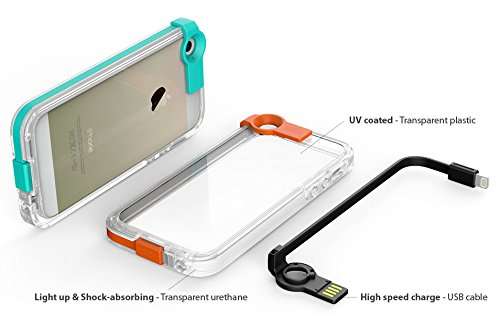 Iphone 5 Usb Cable Case, Apple Iphone5, 5S Cover With High Speed Charging Cable, Mobile Clear Case With Colored Lights, Uv Coated, Shock Absorbing (At&T, Verizon, Sprint, T-Mobile) - Retail Packaging (Orange)