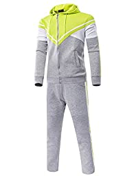 LANBAOSI Men\'s Patched Contrast Color Tracksuit Set (Jacket and Pants) US M=Tag XL Grey