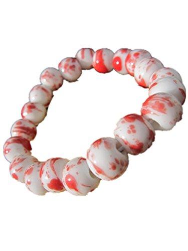 Retro Chinese Style Handmade Ceramics Beads Charm Bracelet (White & Wine Red)