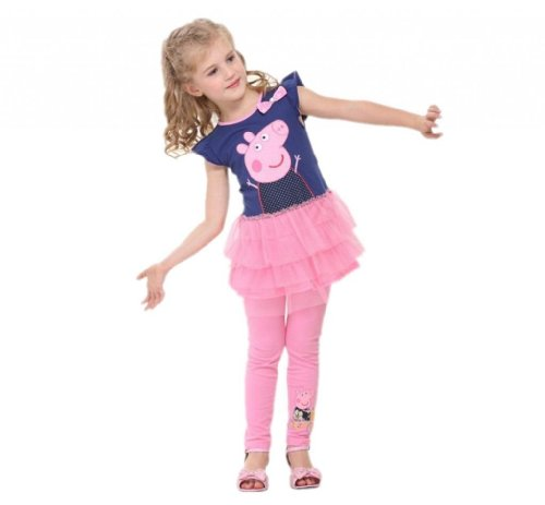 Peppa pig girl's dress Fashion clothing Kids cartoon wear child girl,Navy/Pink,3y