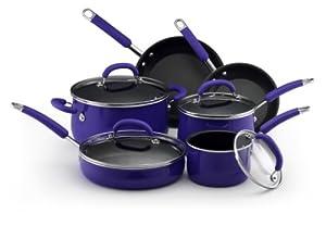 Rachael Ray Porcelain Enamel Nonstick 10-Piece Cookware Set, Blue