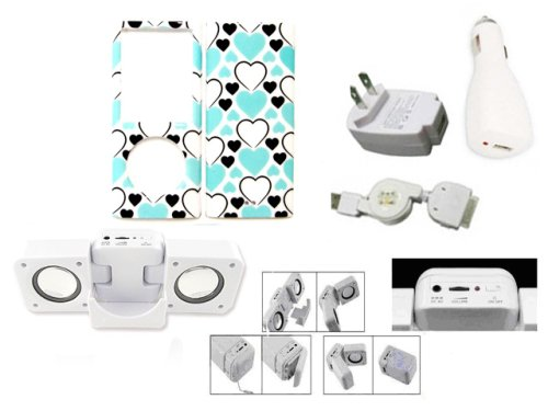 Cuffu  Blue Heart  IPod Nano 4 / 4G (4th Generation) Smart Case Cover Makes Top of the Fashion + White Portable IPod Speaker + Home Charger Adaptor + Car Charger Adaptor + Retractable USB Cable (5 in 1) With Only One LOWEST Shipping Rate $2.98 - Goes With