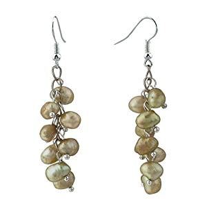 Pugster Green Pearl Dangle Earrings