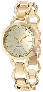 Nine West Women's NW/1348CHGB Round Gold-Tone Open Link Bracelet Watch