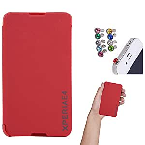 DMG Premium Diary Flip Book Cover Case for Sony Xperia E4 (Red) + 3.5mm Jewel Dust Jack