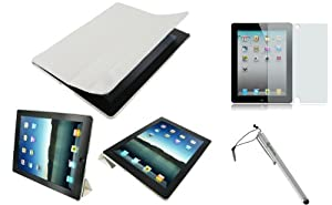 rooCASE 3n1 Ultra Slim (White) Leather Smart Case with Stand / Anti-Glare Screen Protector / Capacitive Stylus for Apple iPad 2 Wifi / 3G Model 16GB, 32GB, 64GB