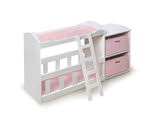 Badger Basket Doll Crib And Changing Station With Two Baskets And Ladder - Pink/White