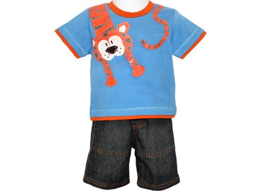 Togs By Teddy Baby Boys Royal Blue Tiger Top & Denim Bermuda Shorts - 6-12 Months