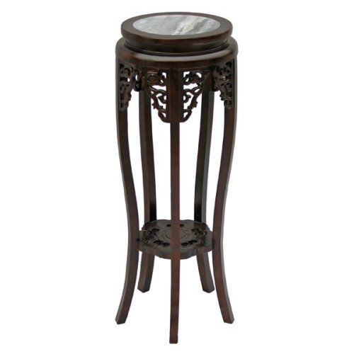 Cheap EXP Antique Style 35″ Tall Accent / End Table With Mahogany Finish, Carved Trim & Marble Top (B001B18Q80)