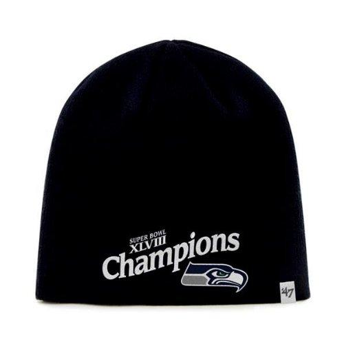 Seattle Seahawks 47 Brand Super Bowl XLVIII Champions Black Winter Beanie Cap (Super Bowl Champions Winter Hat compare prices)